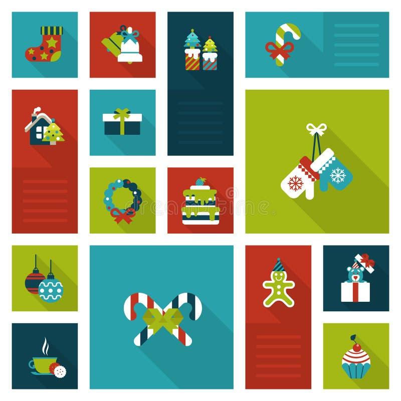 Style plat réglé d'icône de nouvelle année de Noël illustration stock