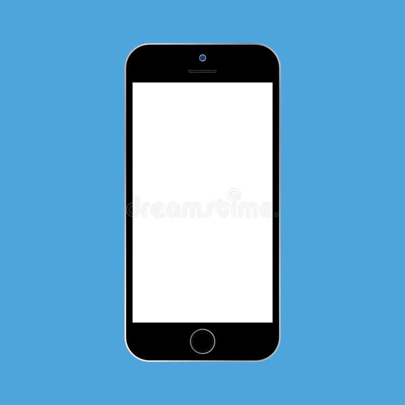 Style plat Smartphone noir avec l'?cran blanc sur le fond bleu Vecteur eps10 d'ic?ne de t?l?phone portable illustration de vecteur