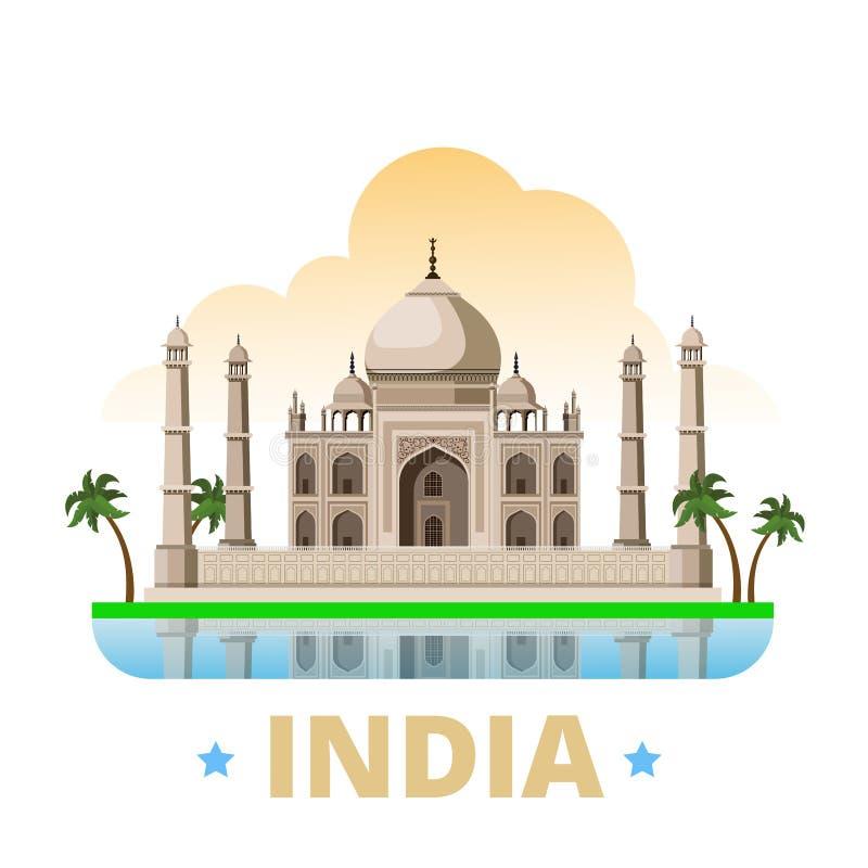 Style plat W de bande dessinée de calibre de conception de pays d'Inde illustration libre de droits