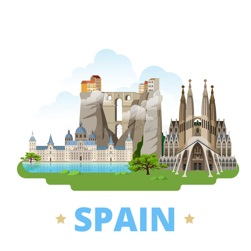 Style plat W de bande dessinée de calibre de conception de pays de l'Espagne illustration stock