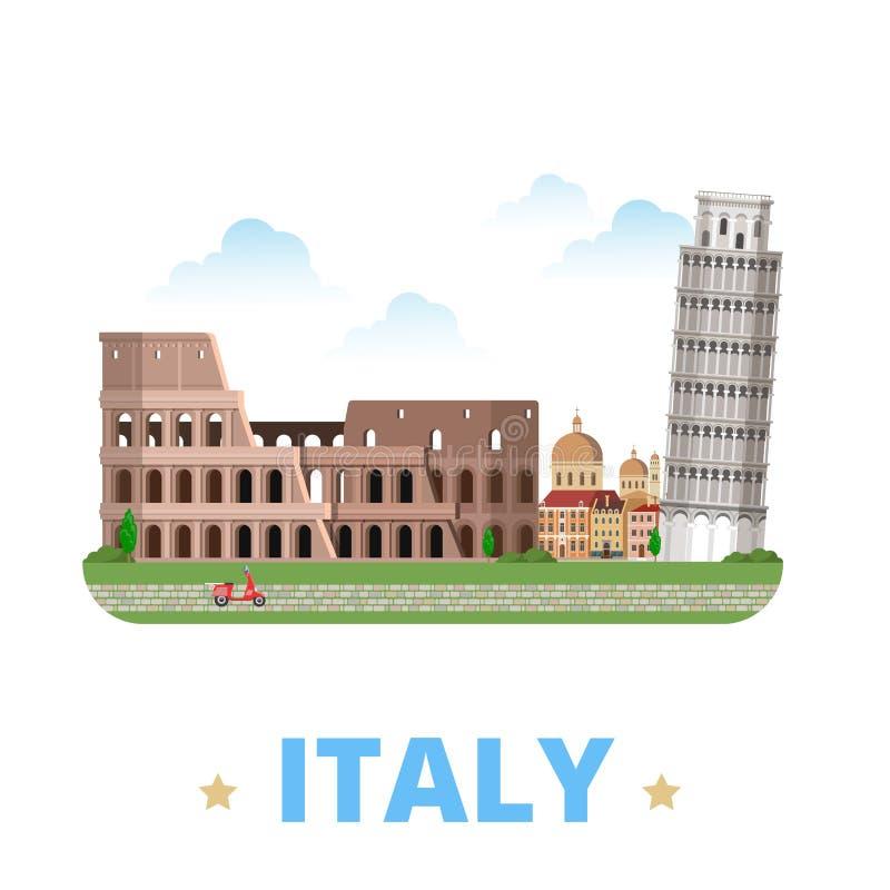 Style plat W de bande dessinée de calibre de conception de pays de l'Italie illustration libre de droits
