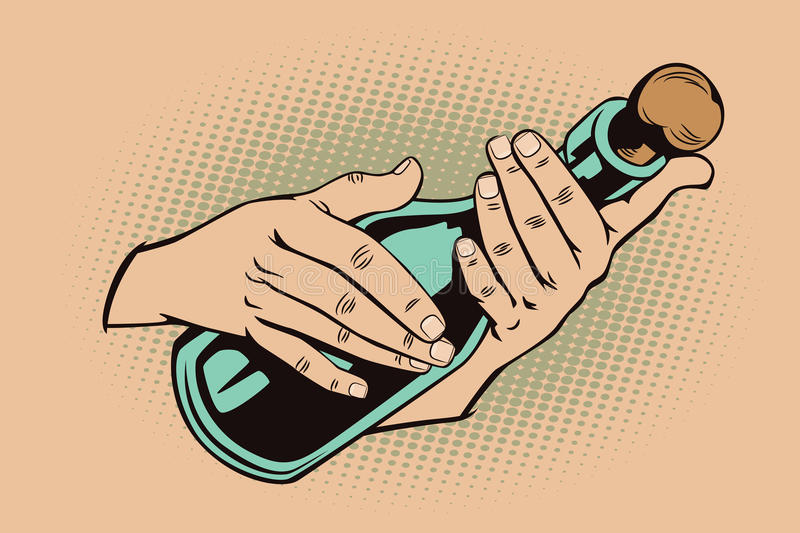 Style of pop art. Hands with a bottle. vector illustration