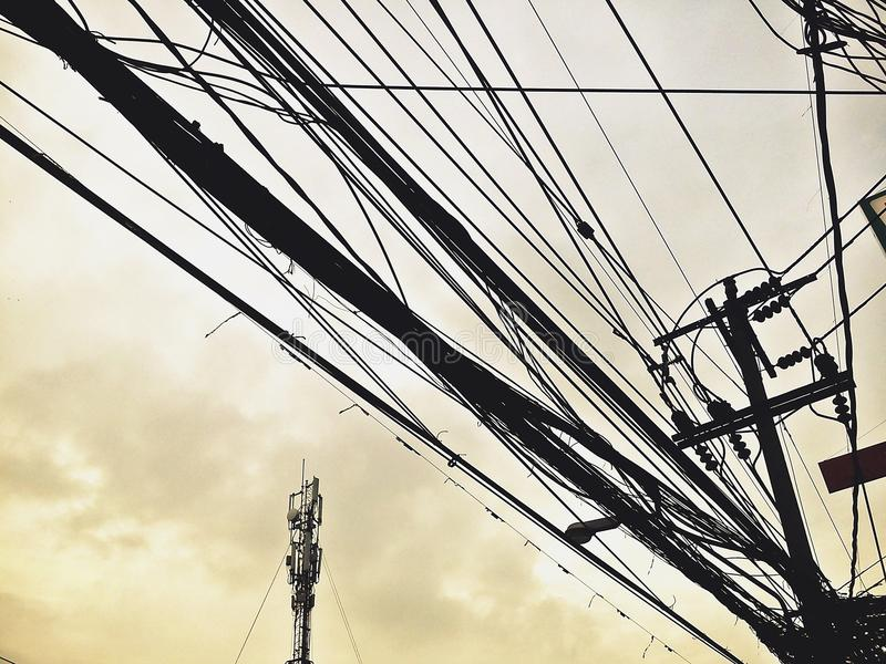 Style Power Lines And Communication Lines In The Downtown Clutter In ...