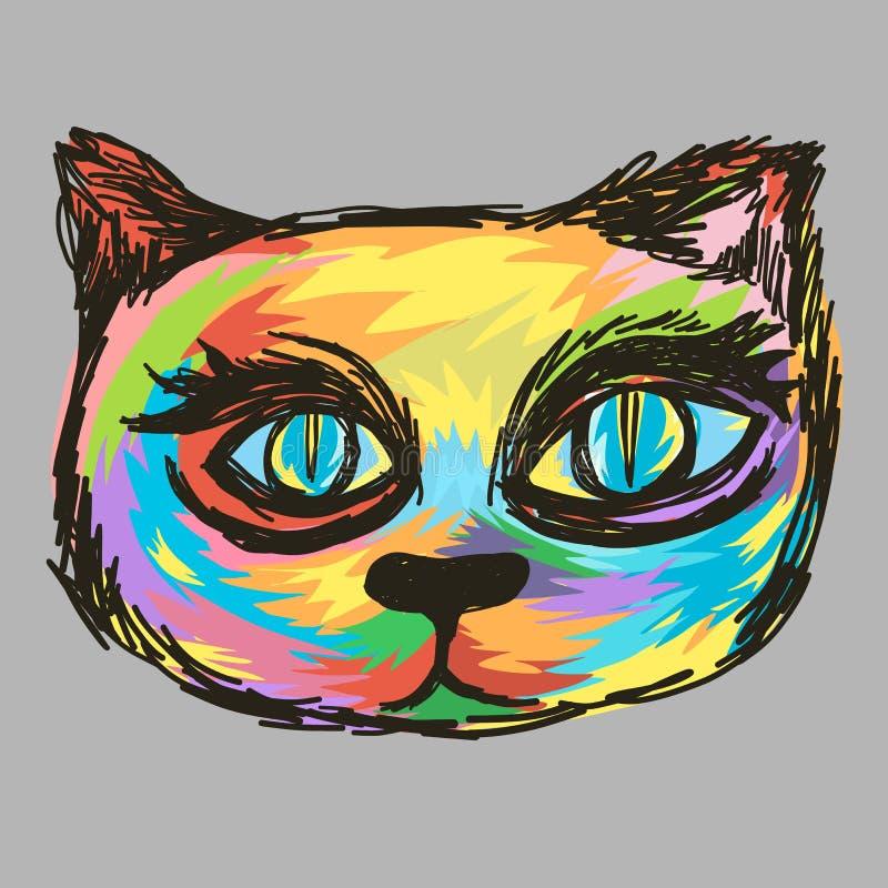 Style principal coloré de peinture de chat illustration stock