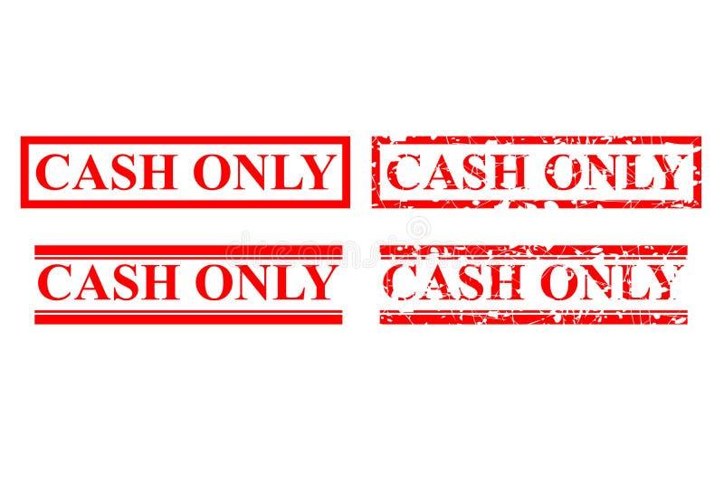 Style quatre d'effet de tampon en caoutchouc : Argent liquide seulement, aucun débit ou carte de crédit, d'isolement sur le blanc illustration libre de droits