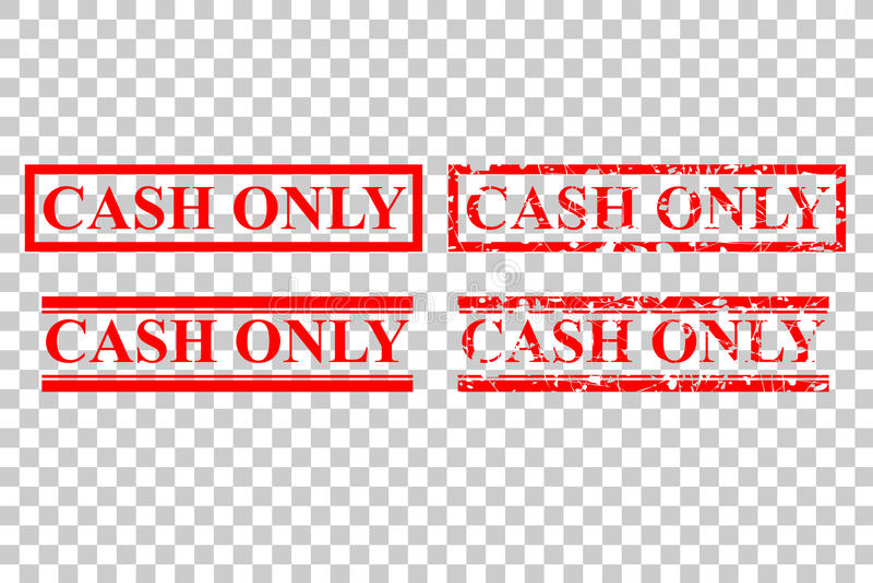 Style quatre de tampon en caoutchouc : Argent liquide seulement, aucun débit ou carte de crédit, au fond transparent d'effet illustration stock