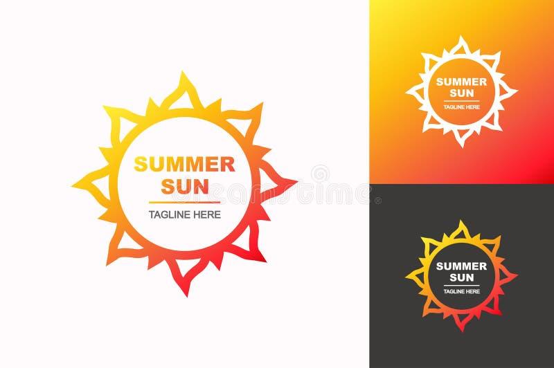 Style réglé de gradient de logo du soleil d'été de vecteur pour l'entreprise de voyage illustration stock