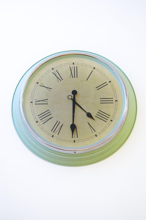 Style romain d'horloge vert clair rétro Chiffre arabe romain photo libre de droits