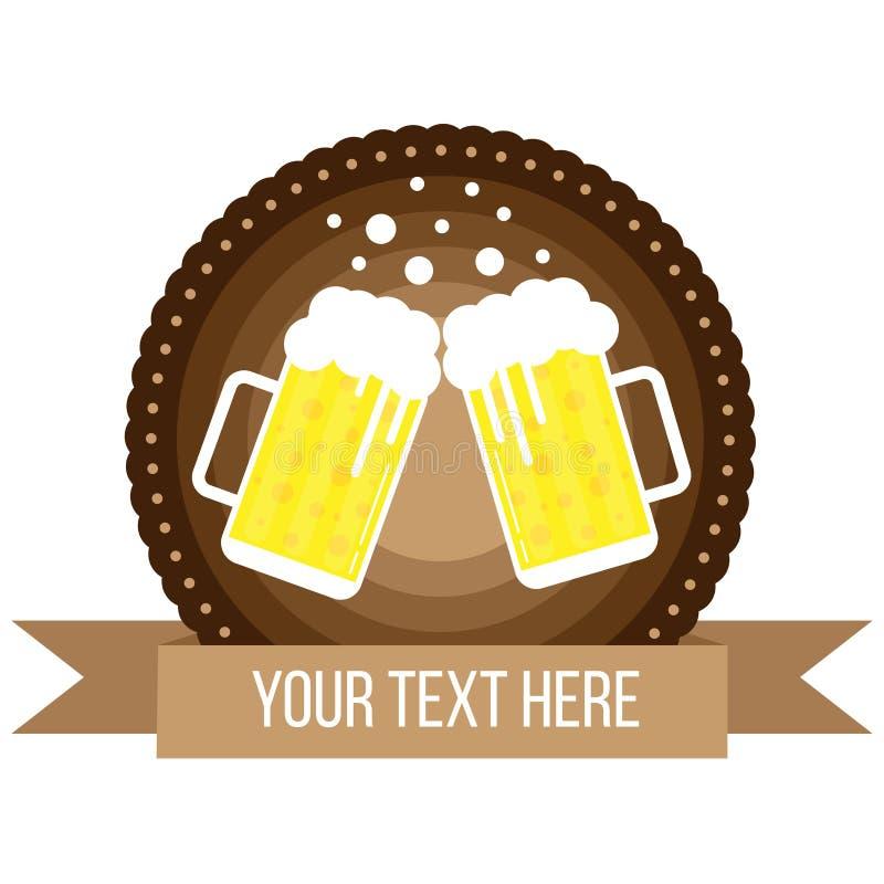 Style rond de Lager Beer Pints Badge Flat illustration de vecteur