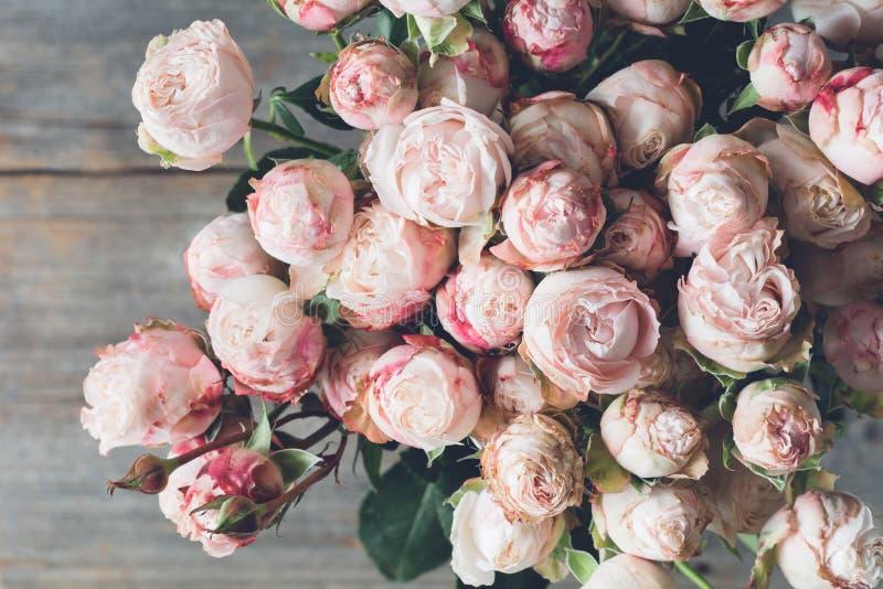 Style rose de vintage de bouquet de roses d'arbuste photographie stock