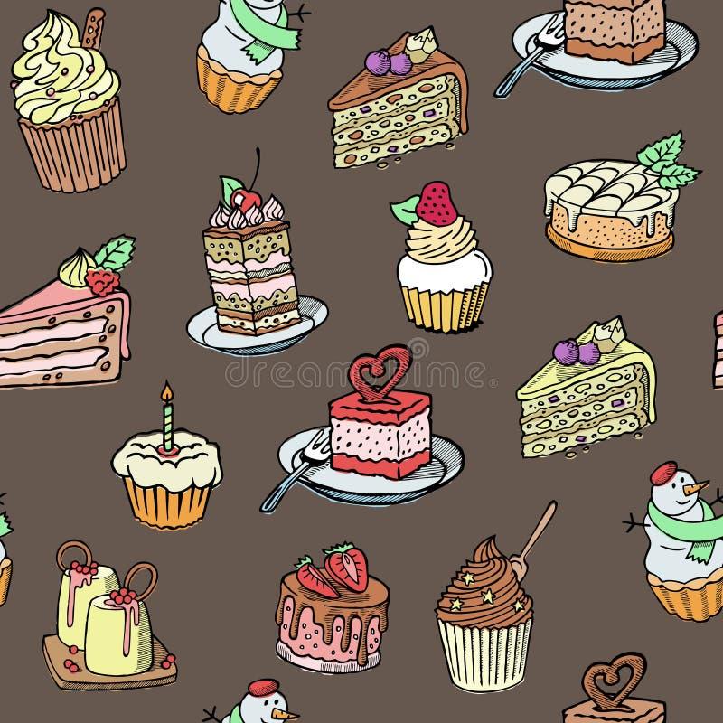 Style sans couture de croquis de modèle de vecteur de petits gâteaux sur le rétro fond brun Conception douce de fond de gâteaux I illustration stock