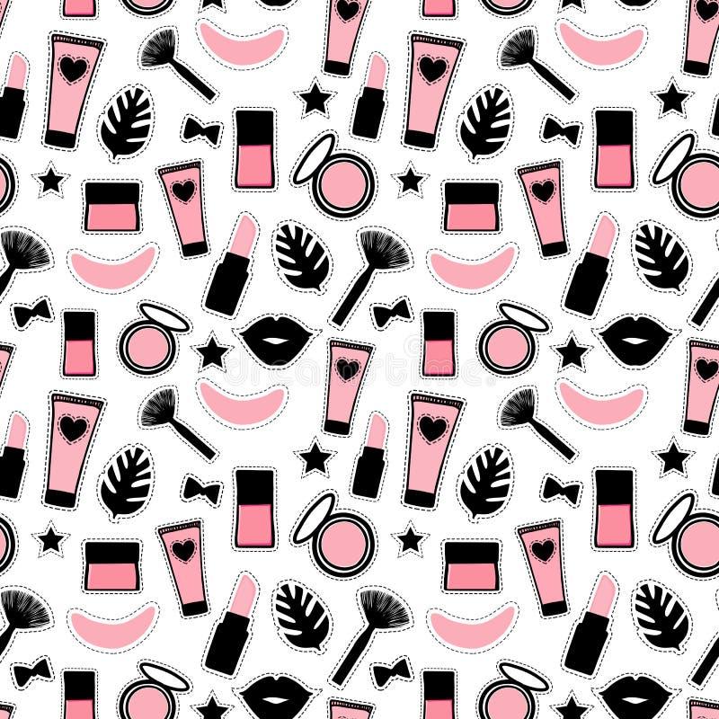 Style sans couture de mode de modèle Placez le maquillage de beauté de signe pour les filles mignonnes L'illustration de vecteur  illustration de vecteur