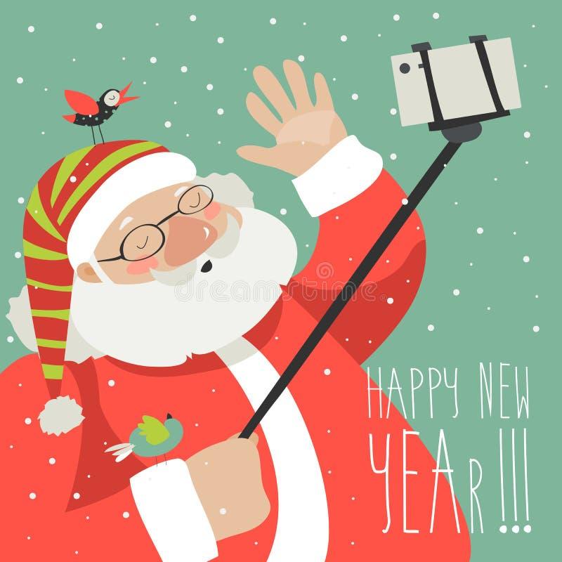 Style Santa Claus de bande dessinée faisant le selfie illustration stock