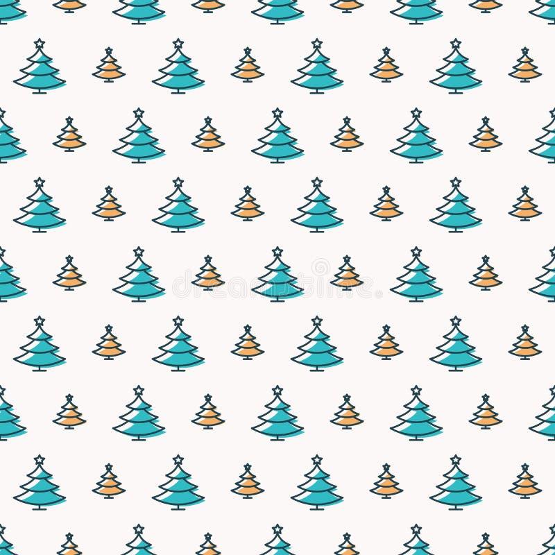 Style scandinave de couleur sans couture de modèle d'arbre de Noël sur le fond blanc illustration de vecteur