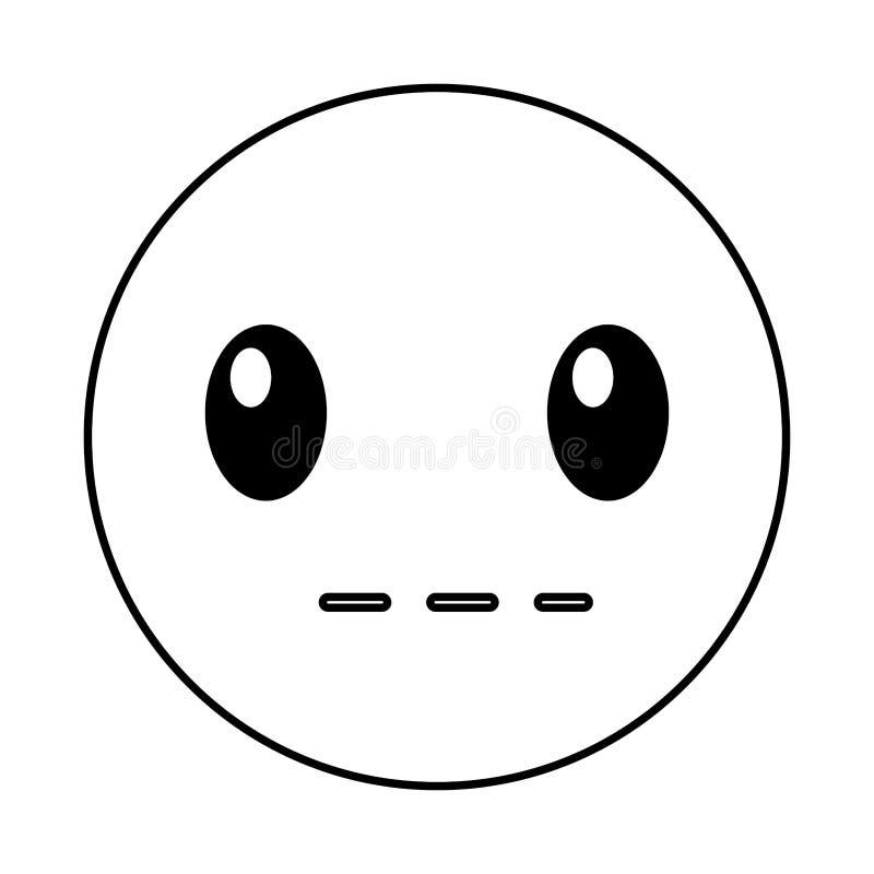 Style silencieux de kawaii de visage d'émoticône illustration stock
