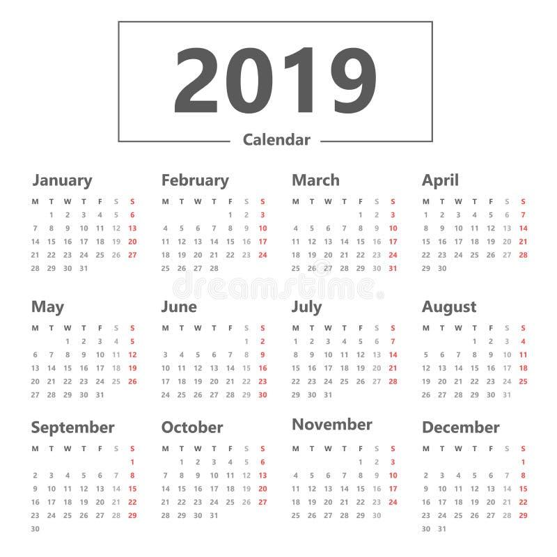 Style simple du calendrier 2019 Vecteur sur le fond blanc La semaine commence lundi illustration stock