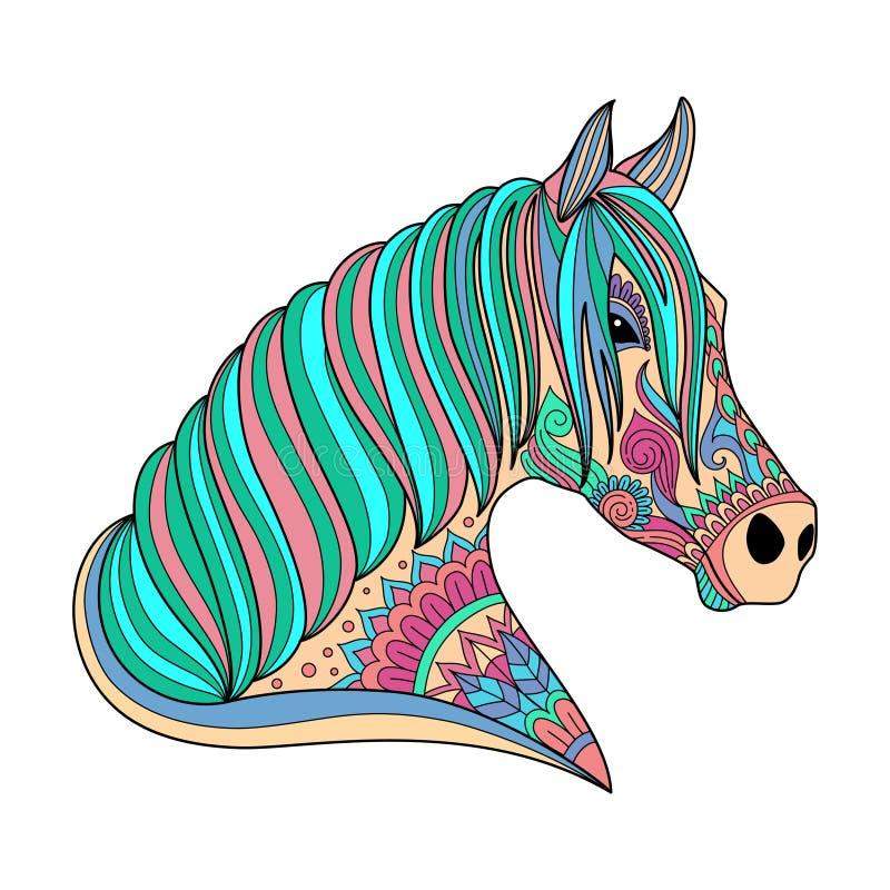 Style stylisé de zentangle de cheval de dessin pour livre de coloriage, tatouage, conception de chemise, logo, signe illustration illustration de vecteur