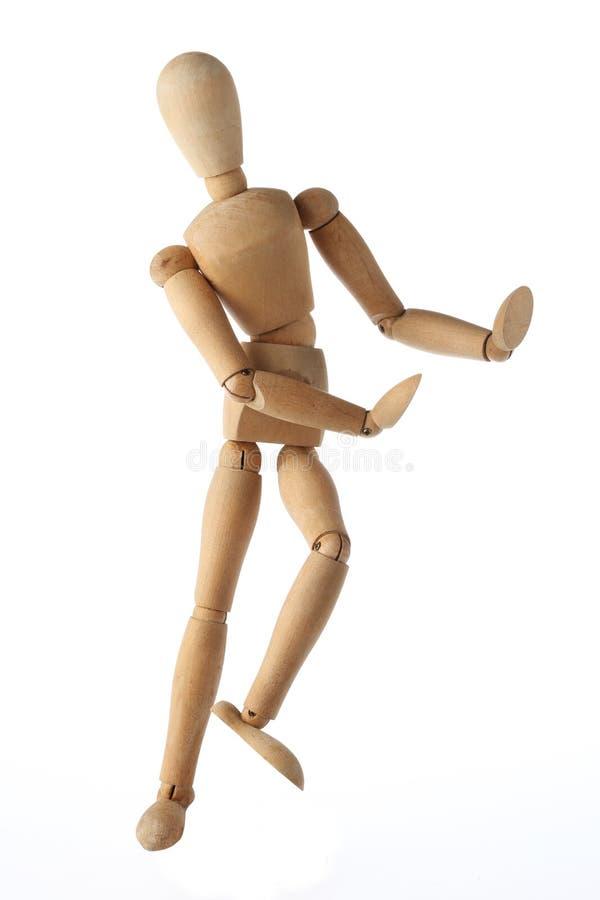 Style thaïlandais de vieille danse factice en bois de mannequin d'isolement images stock