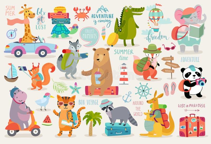Style tiré par la main d'animaux de voyage, calligraphie et d'autres éléments illustration libre de droits