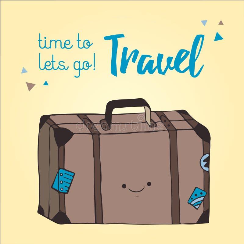 Style tiré par la main d'illustration de sac de voyage Rétro illustration de valise Photo de sac de déplacement avec des autocoll illustration stock