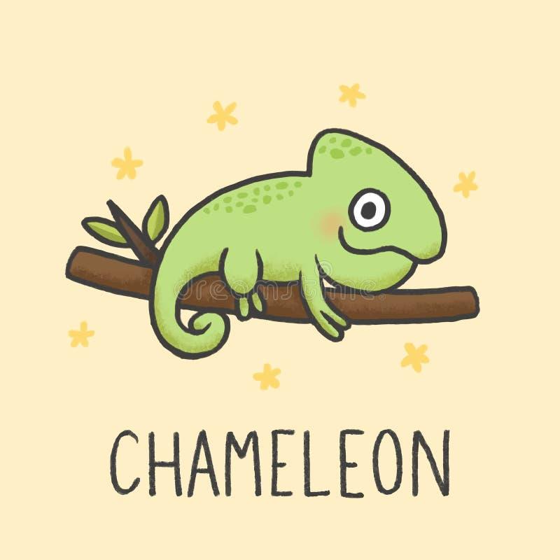Style tiré par la main de bande dessinée mignonne de caméléon illustration stock
