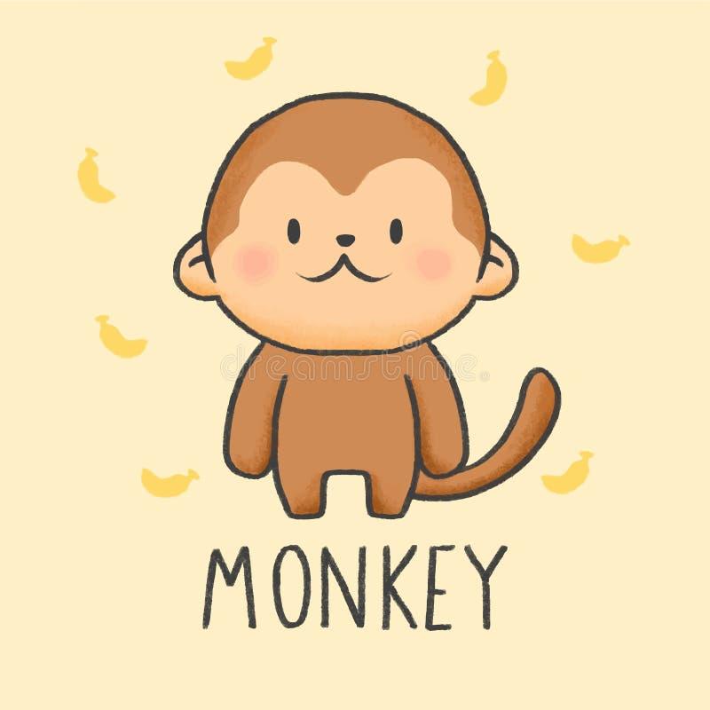 Style tiré par la main de bande dessinée mignonne de singe illustration de vecteur