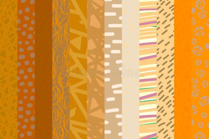 Style tiré par la main de catoon de fond de gradient de fond orange beige de collage illustration de vecteur