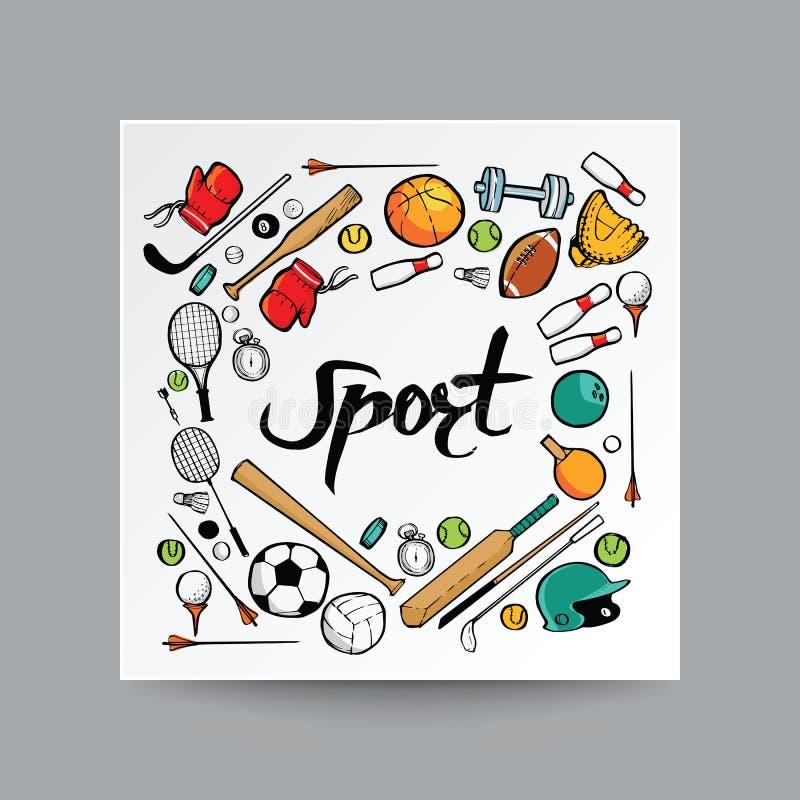 Style tiré par la main de griffonnage, équipement de sport à l'arrière-plan d'isolement, illustration libre de droits