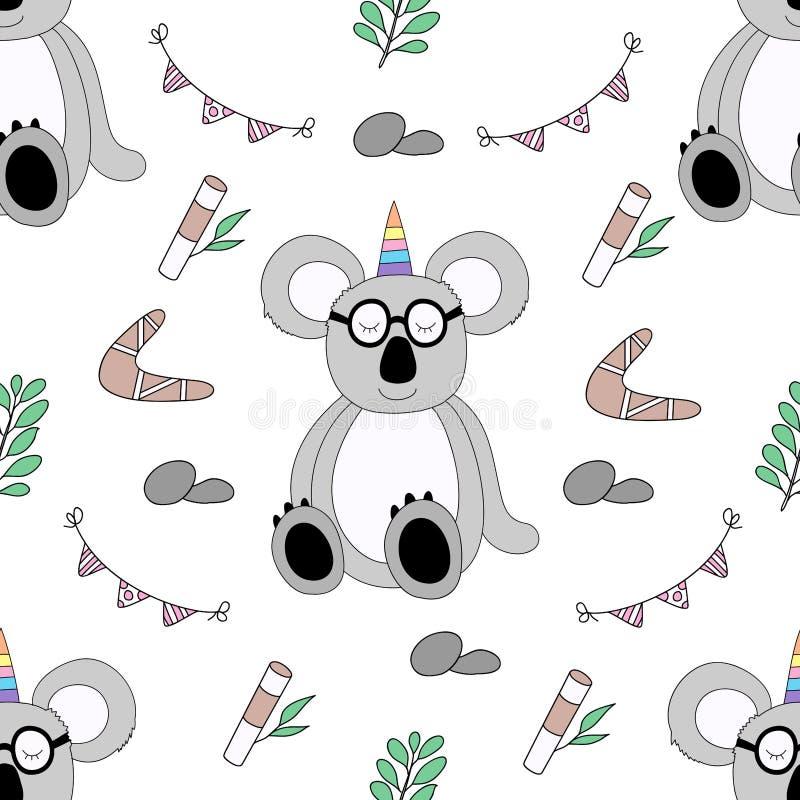 Style tiré par la main de modèle de bande dessinée mignonne sans couture de koala illustration stock