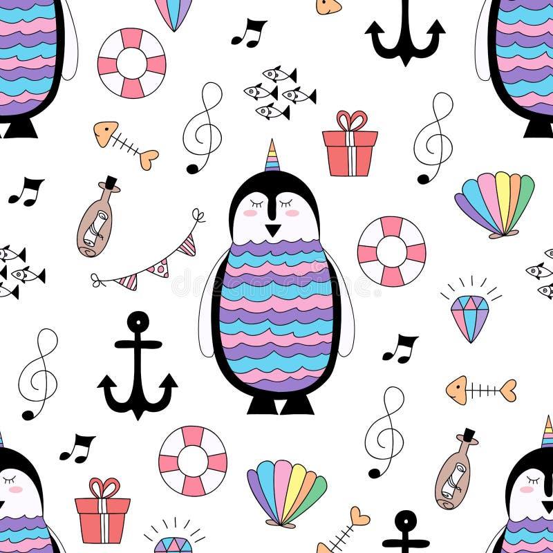 Style tiré par la main de modèle de bande dessinée mignonne sans couture de pingouin illustration stock