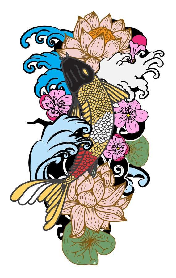 style tiré par la main de tatouage de Koi Carp Japanese de ‰ de ¹ d'à illustration stock
