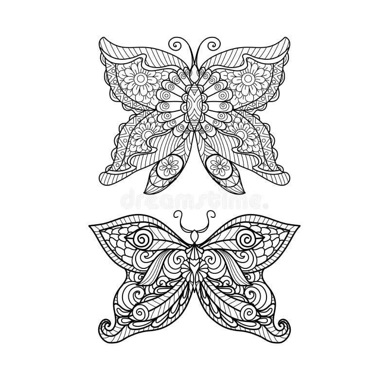 Style tiré par la main de zentangle de papillon pour livre de coloriage, la conception de chemise ou le tatouage illustration stock