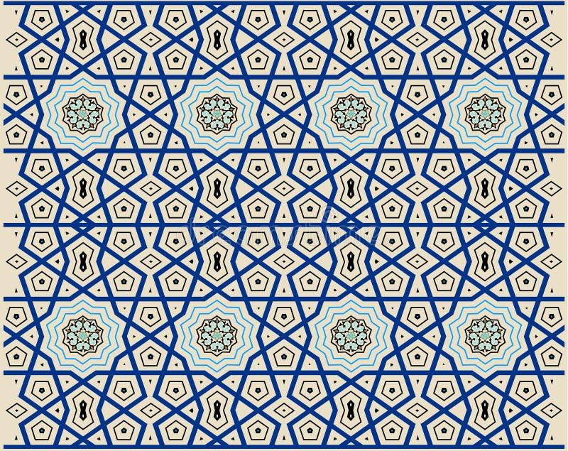 Style turc de tabouret avec les tuiles bleues, noires, jaunes illustration de vecteur
