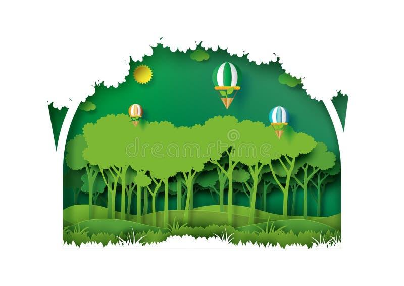 Style vert d'art de papier de plantation de forêt de nature illustration stock