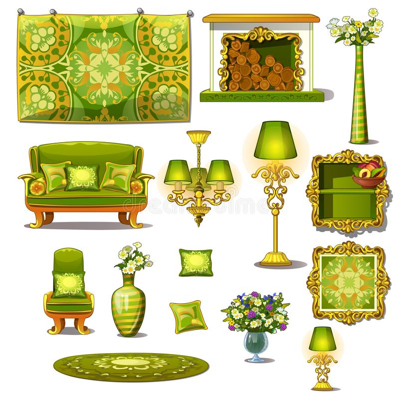 Style vert de vintage de meubles, grand ensemble de vecteur illustration stock