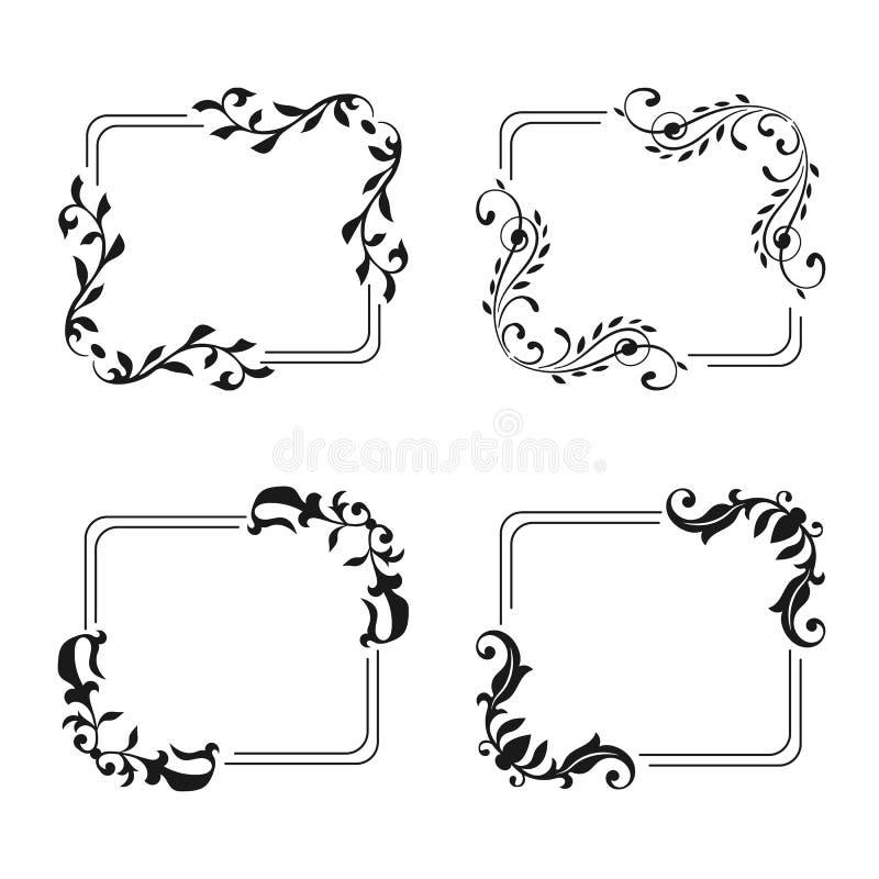 Style vide décoratif de cru d'ensemble de cadre Calibre pour épouser, salutation, invitation, carte romantique illustration de vecteur