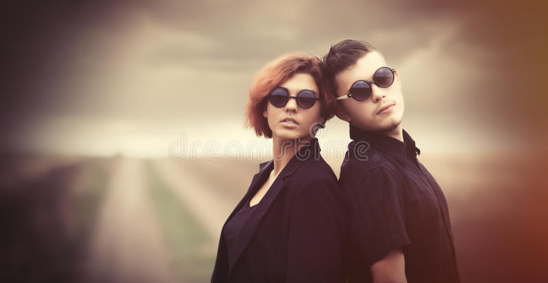 Style young couple at countryside stock image