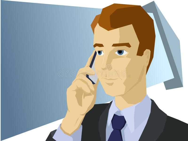 Styled businessman talk the mobile phone stock illustration