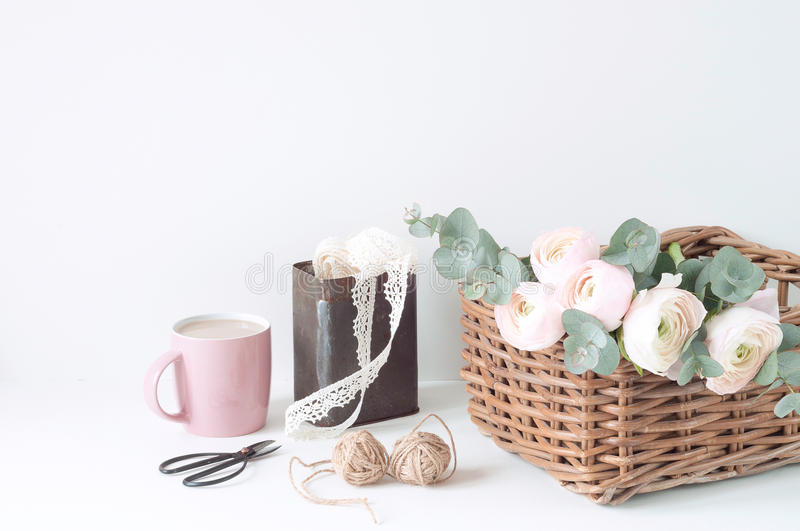 Styled composition with pink ranunculos stock photos