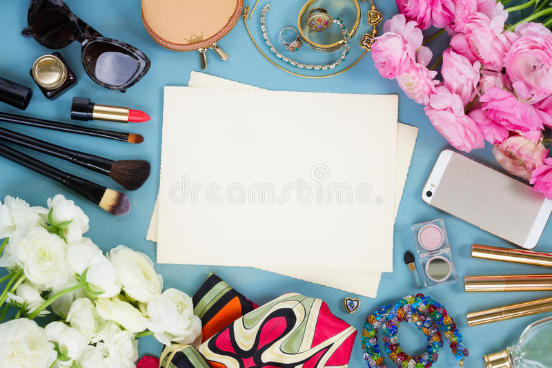 Styled feminine desktop stock photos