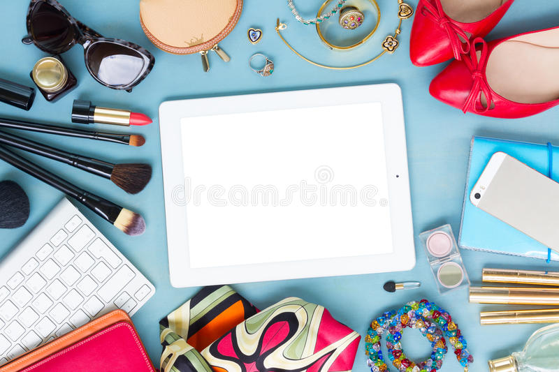 Styled feminine desktop royalty free stock photos