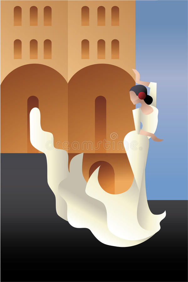 Free Styled Spain Flamenco Dancer On Sity Landscape Royalty Free Stock Images - 53939769