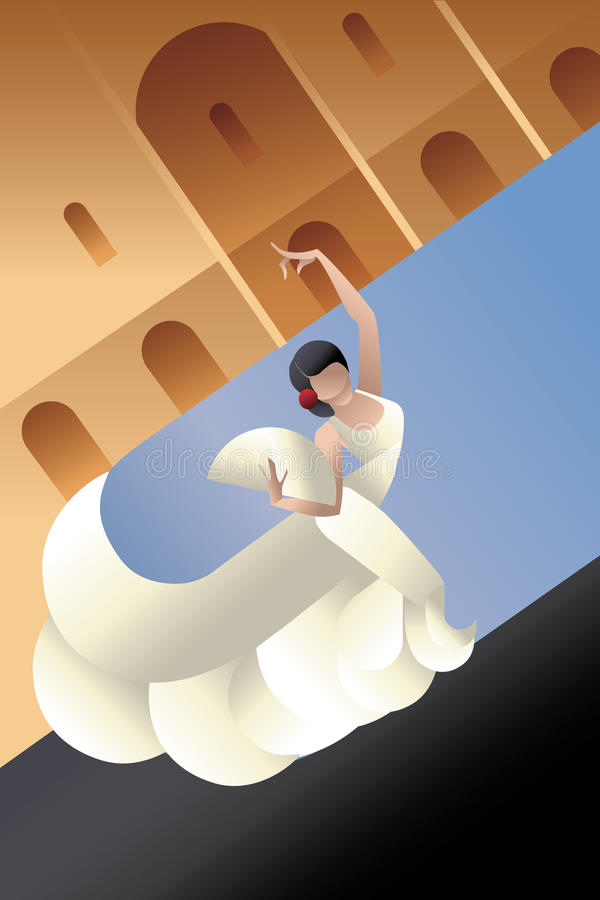 Free Styled Spain Flamenco Dancer On Sity Landscape Royalty Free Stock Photos - 53939958