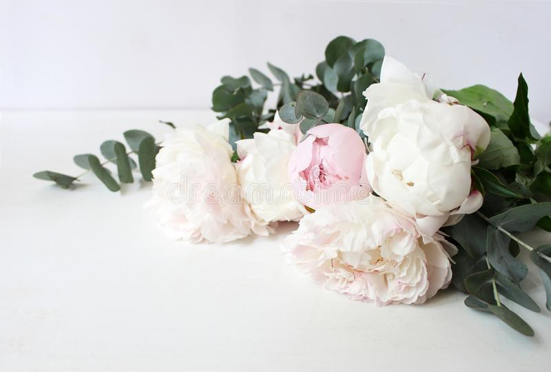 Styled stock photo. Decorative still life floral composition. Wedding or birthday bouquet of pink and white peony royalty free stock photography