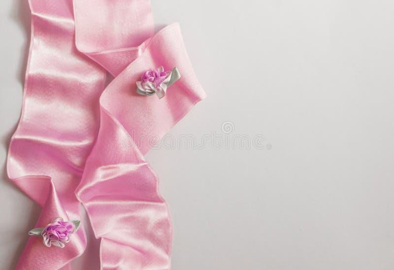 Styled stock photo. Feminine wedding desktop mockup with baby`s breath Gypsophila flowers, dry green eucalyptus leaves, satin stock photography