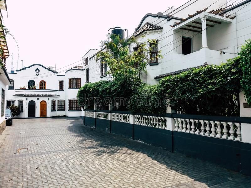 Styles of buildings and houses of Miraflores in Lima - Peru.  stock photo