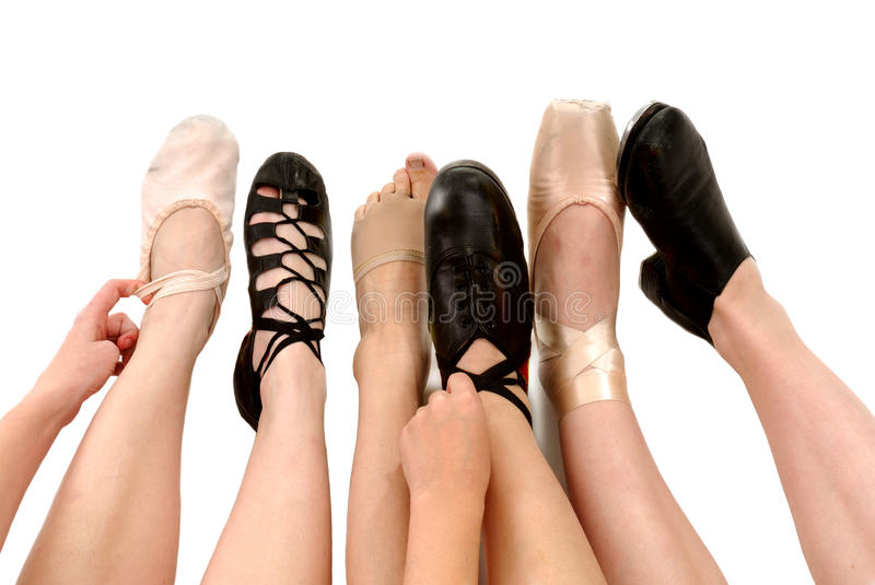 Styles of Dance Shoes in Feet. Six Genres of Adult Dance Styles in Shoes with legs and feet Ballet, Irish Ghillies, Lyrical, Clog Hard Shoes, Pointe and Tap stock image