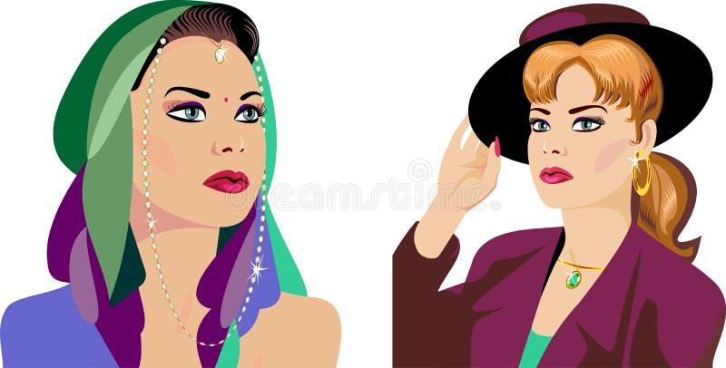 styles den olika klädda ladyen för clo barn vektor illustrationer