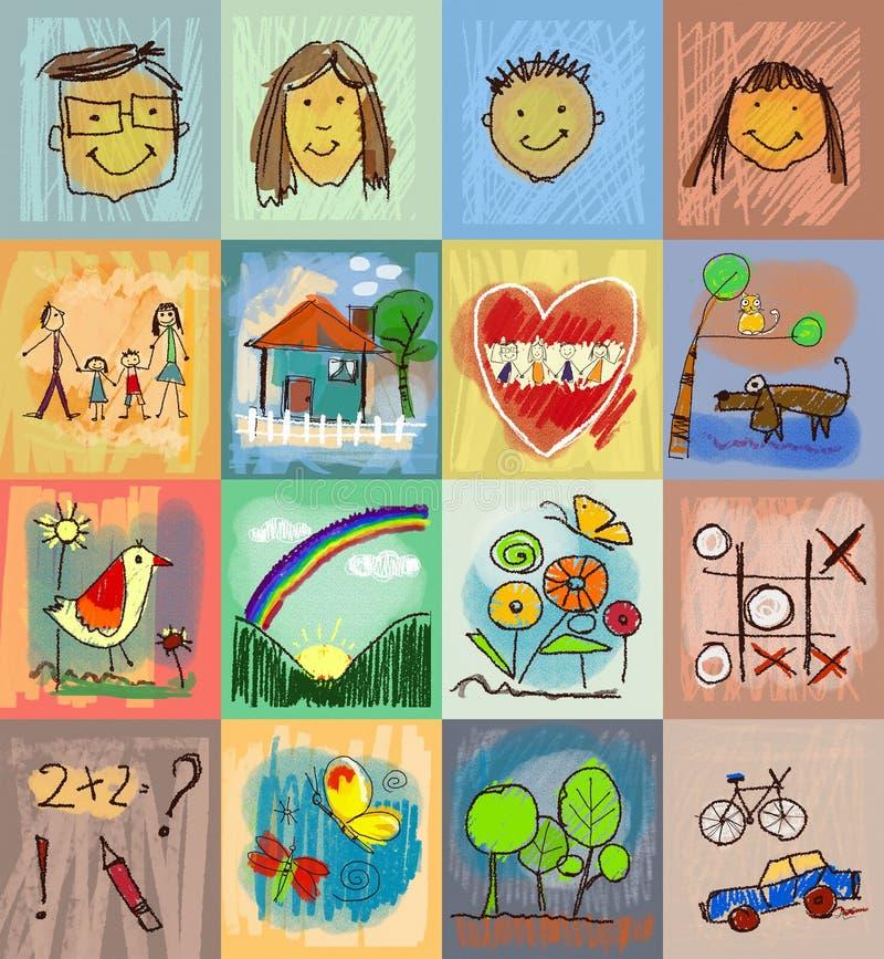 Styles du dessin des enfants Ensemble de symboles avec la famille humaine illustration libre de droits
