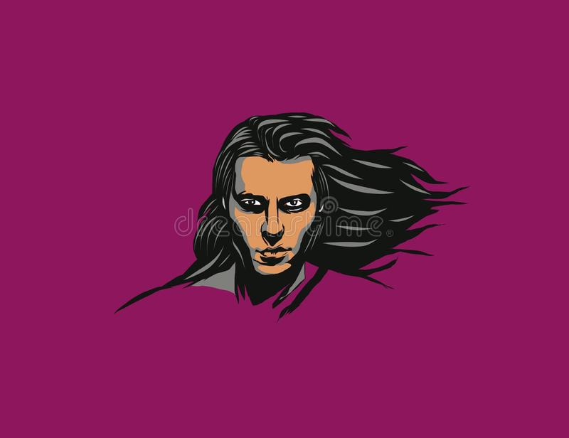 Styles young Man with long hair. Black, angry, human, face, art, illustration, background, wallpaper, cover royalty free illustration